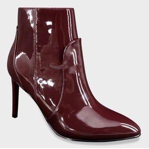 Burgundy Patent Pointed Heeled Fashion Bootie, NIB